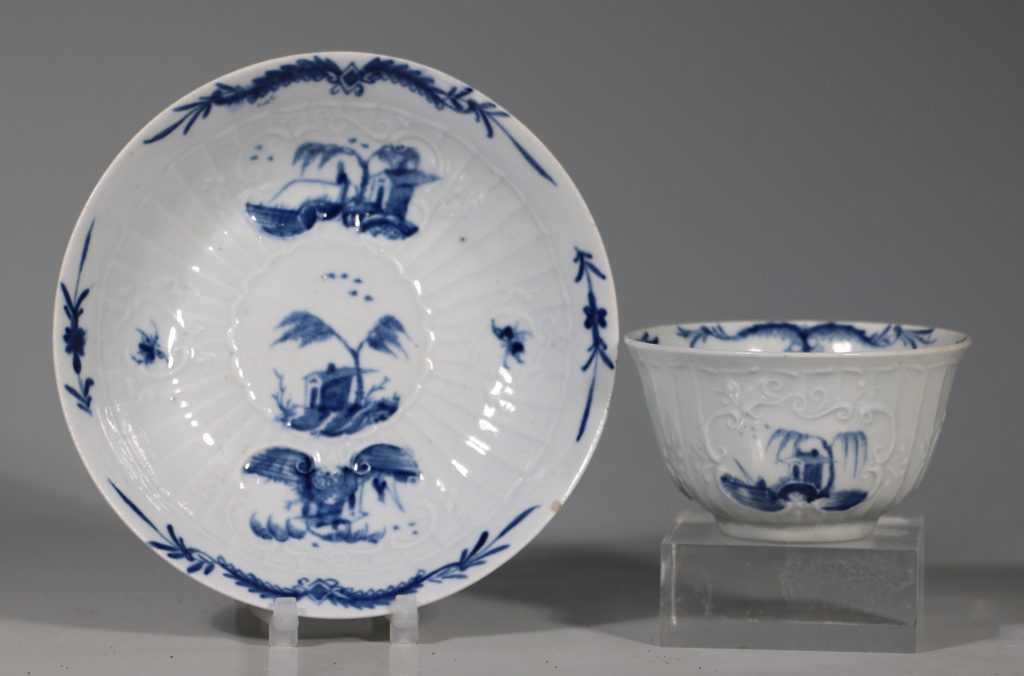 A Worcester Blue and White Teabowl and Saucer C1756 1