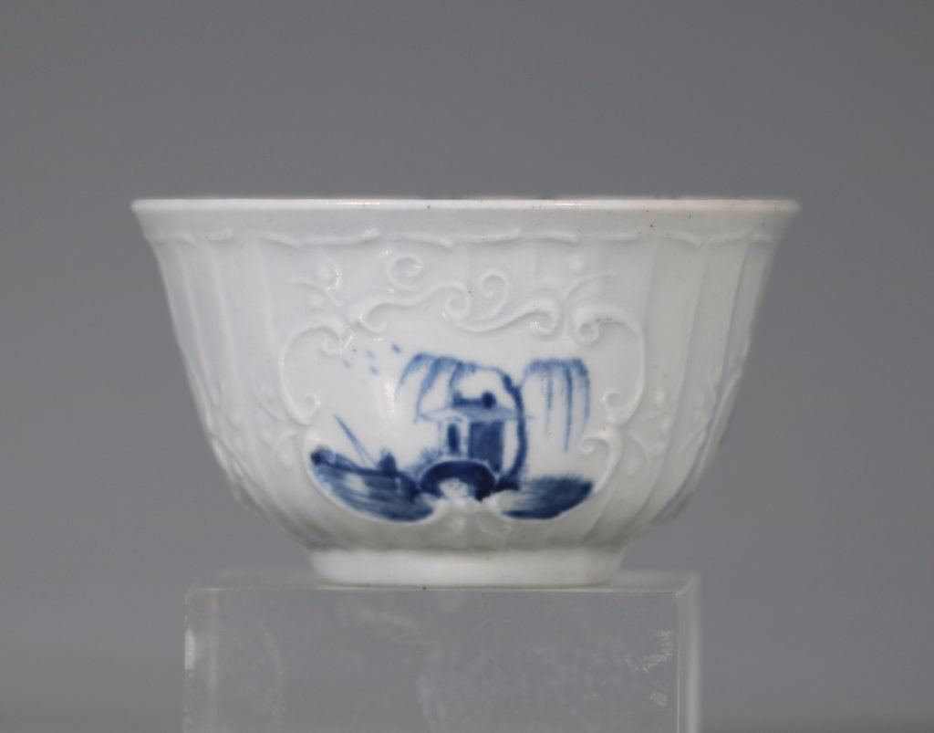 A Worcester Blue and White Teabowl and Saucer C1756 3
