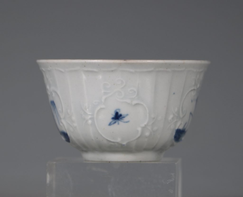 A Worcester Blue and White Teabowl and Saucer C1756 4