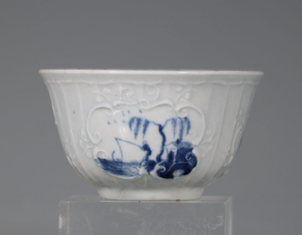 A Worcester Blue and White Teabowl and Saucer C1756 5