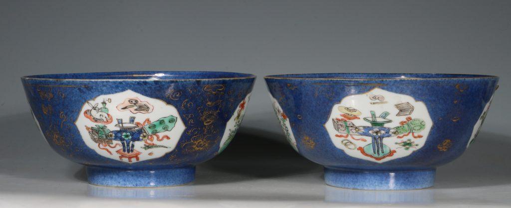 A Chinese Powder Blue Ground Famille Verte Bowl Kangxi E18thC 14