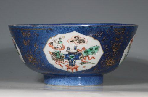 A Chinese Powder Blue Ground Famille Verte Bowl Kangxi E18thC