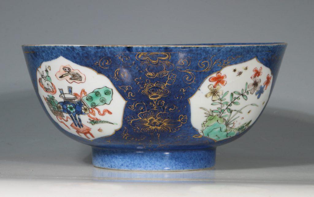A Chinese Powder Blue Ground Famille Verte Bowl Kangxi E18thC 1