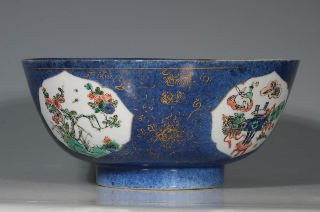 A Chinese Powder Blue Ground Famille Verte Bowl Kangxi E18thC 7
