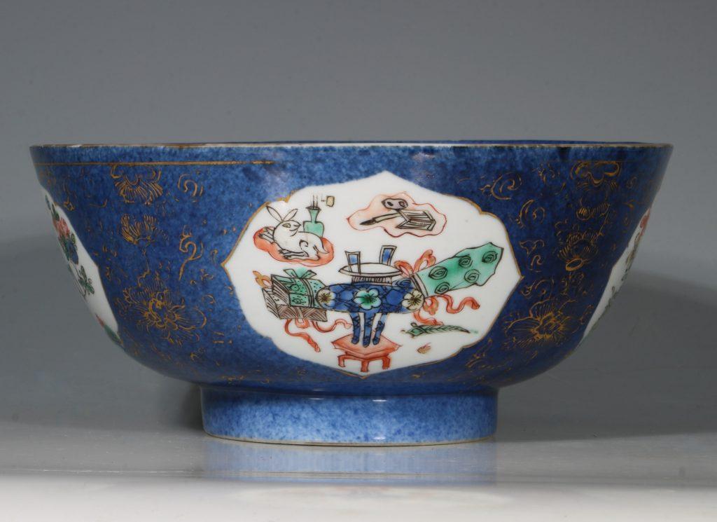 A Chinese Powder Blue Ground Famille Verte Bowl Kangxi E18thC 8