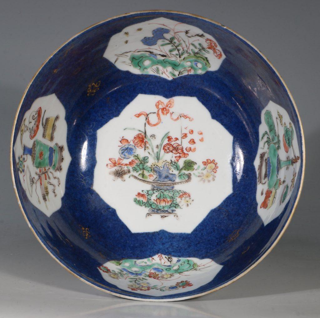 A Chinese Powder Blue Ground Famille Verte Bowl Kangxi E18thC 9