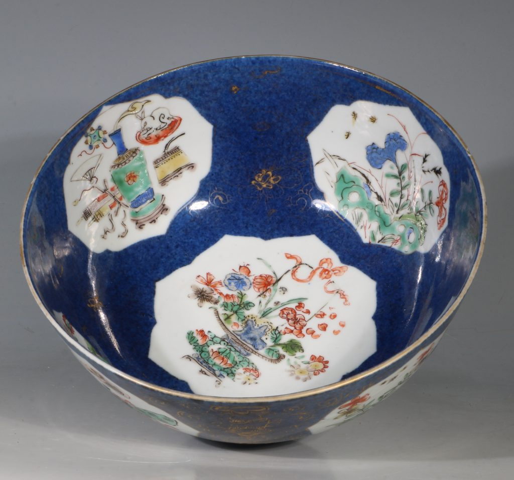 A Chinese Powder Blue Ground Famille Verte Bowl Kangxi E18thC 10