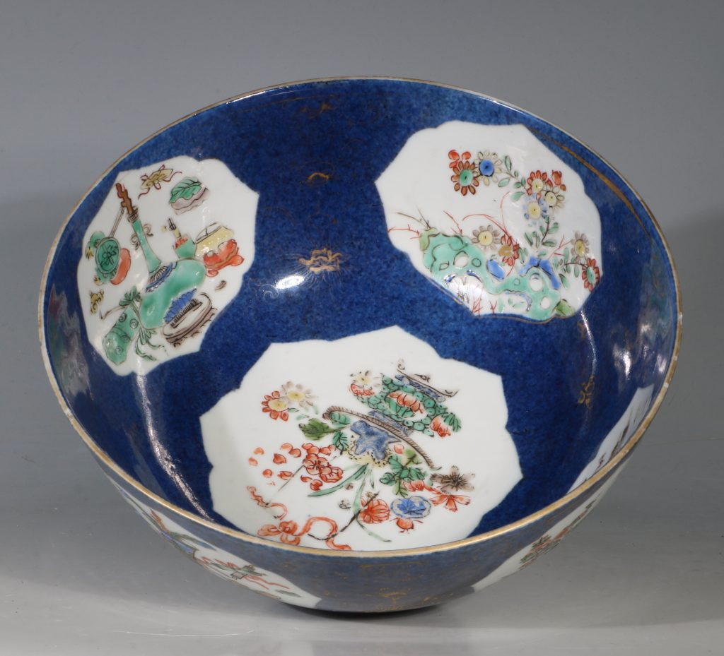 A Chinese Powder Blue Ground Famille Verte Bowl Kangxi E18thC 11