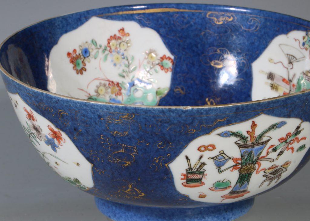 A Chinese Powder Blue Ground Famille Verte Bowl Kangxi E18thC 13